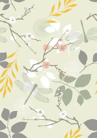 Seamless pattern with dragonflies, flowers and leaves