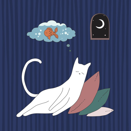 laziness: White cat sleeping on pillows heap