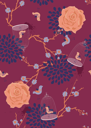 seamless pattern with blooming branches, roses and cages Vector