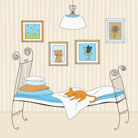 Red cat sleeping on bed Vector