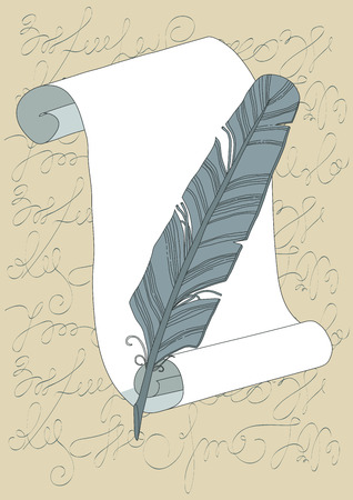 vellum: Grey quill and empty scroll Vettoriali