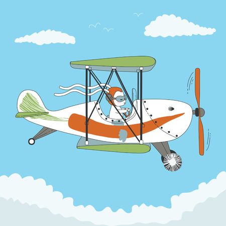 biplane: Cartoon rabbit pilot the little airplane