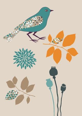 boll: Blue bird and several plants Illustration