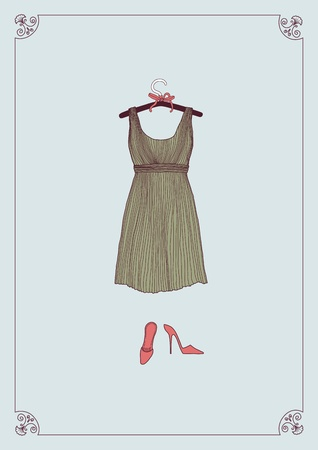 pink dress: Dress on clothes hanger and shoes Illustration