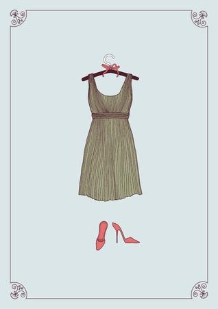 Jurk op de hanger kleren en schoenen Vector Illustratie