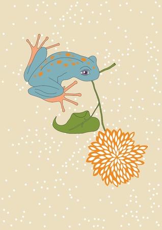 blue frog: Flores y Sapo azul