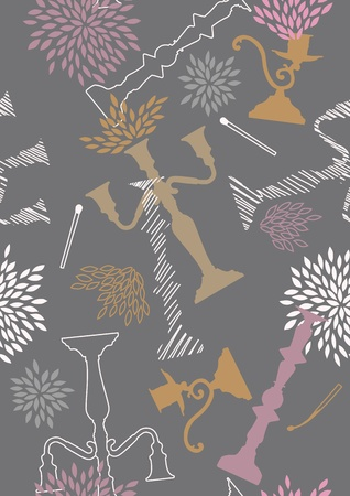 Seamless grey pattern with chandeliers and flowers Vector