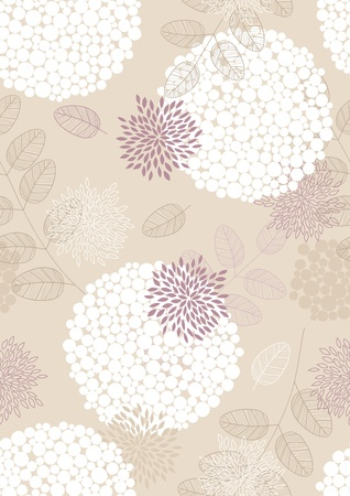 Seamless pattern with flowers, leaves and circles Illustration