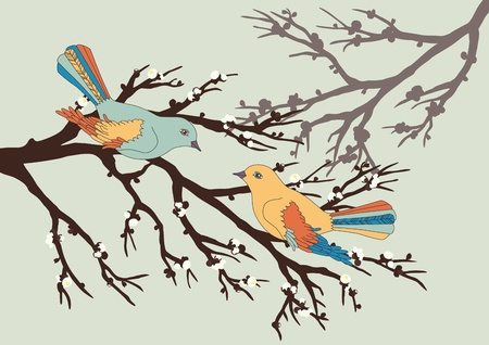 Two birds on blooming branch Vector