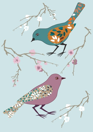 Two birds and blooming branch Vector
