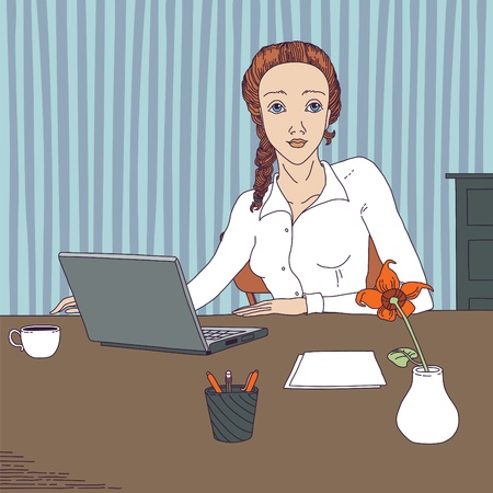 flowers in vase: Woman working at laptop in an office