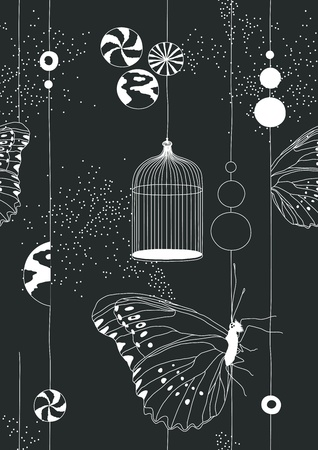 papillon dessin: Patron sans soudure noir avec des papillons et cage