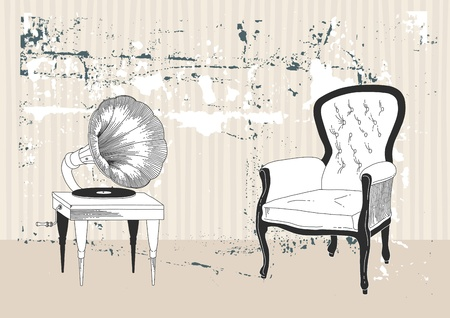 antique chair: Old gramophone and armchair