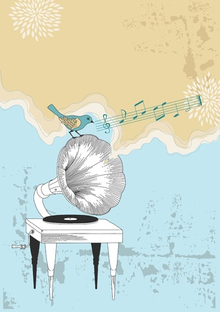 Old gramophone and blue bird Vector