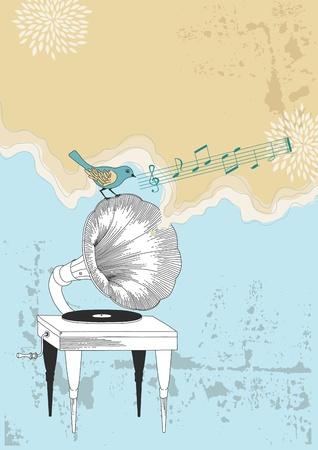 Oude grammofoon en blauwe vogel