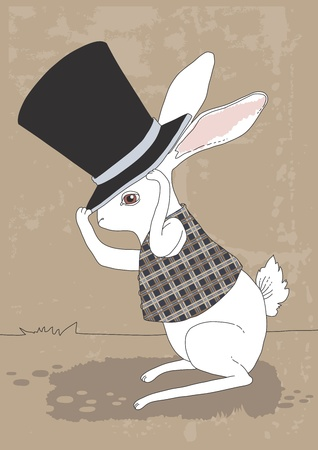 cartoon hare: White rabbit and big black top hat