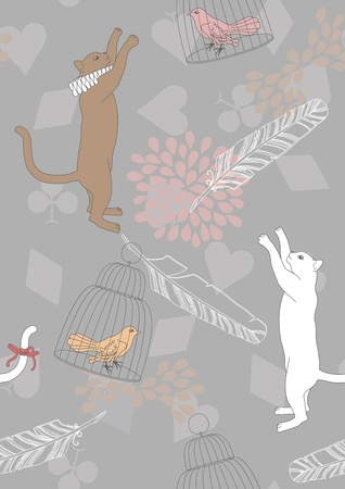 Seamless pattern with cats and birds in cages Vector