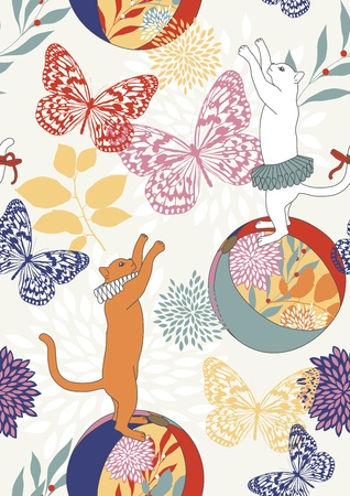 jabot: Seamless pattern with cats on balls catching butterflies