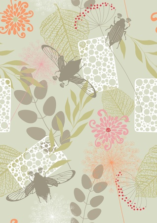 art painting: Seamless pattern with leaves, flowers and may-bugs