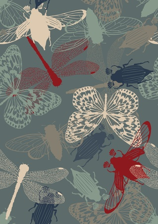 Seamless pattern with insects: bugs, butterflies, dragonflies