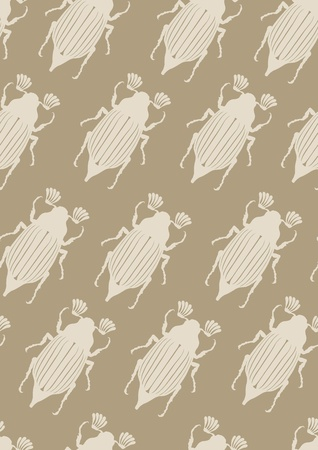 Seamless brown pattern with may-bugs Vector