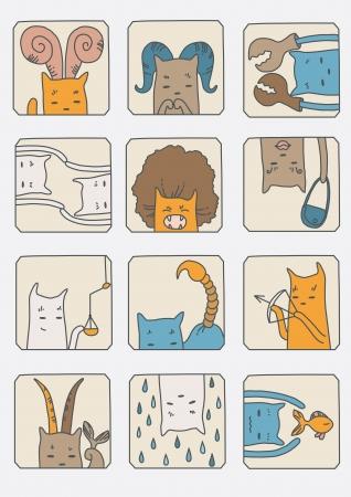 goat capricorn: Cute cats - set of zodiac symbols