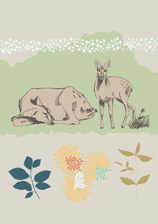 Sleeping doe and little fawn Vector