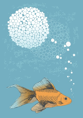 outline drawing of fish: Golden fish swimming in water and bubbles