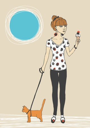 Walking girl and her cat Vector