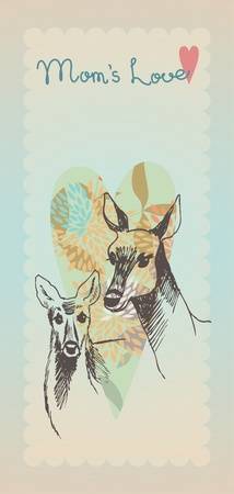 Doe and little fawn Vector
