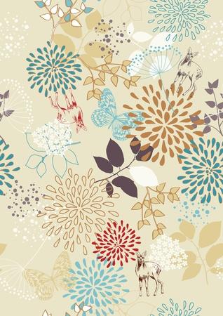 deer  spot: Seamless pattern with flowers, butterflies and deer