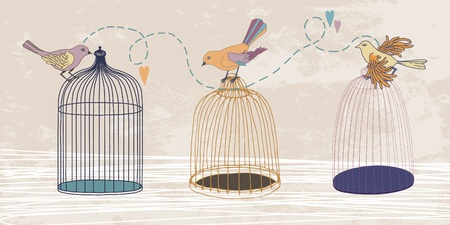 Three variegated birds and three cages Vector