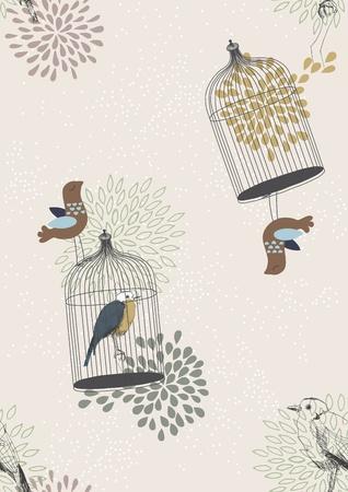 gabbie: Seamless pattern con uccelli