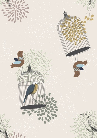 bird cage: Seamless pattern with birds