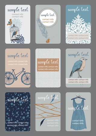 bird cage: Set of vertical colourful business cards