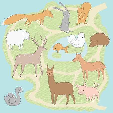 Layout plan of little zoo with animals Stock Vector - 10948288