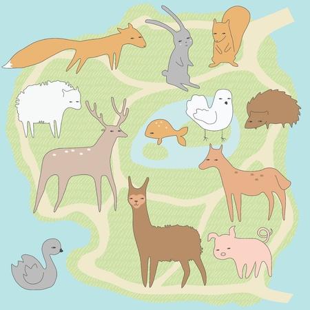 paloma caricatura: Plan de diseño del pequeño zoológico con animales