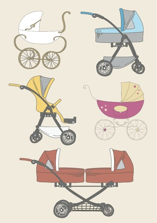 stroller: Set of baby carriages