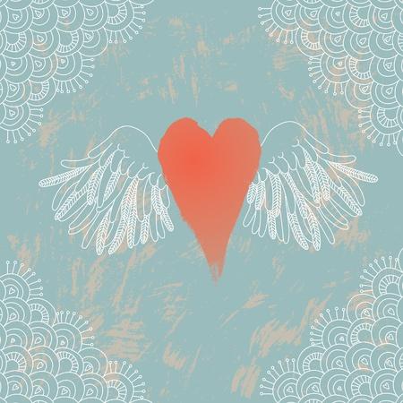 grunge wings: Illustrazione di cuore con le ali