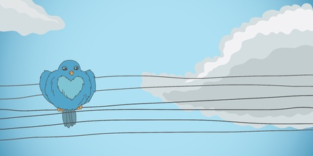 Blue bird sitting on the wires Vector