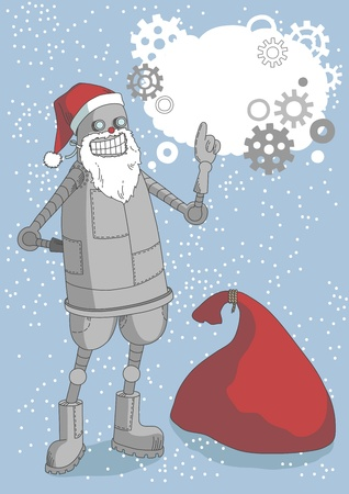 talking robot: Robot in Santas cap pointing its words in bubble