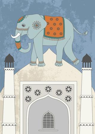 indian elephant: Decorated indian elephant and dome Illustration