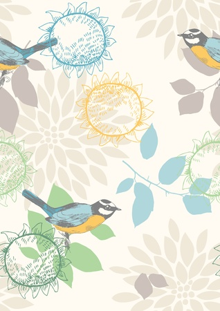 tit: Seamless pattern with blue tomtits and flowers