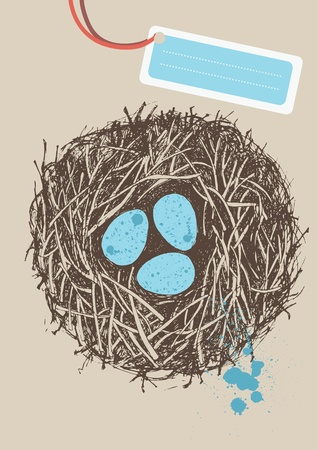 Blue spotted eggs in nest Stock Vector - 12609811