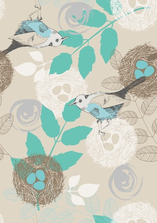 Seamless pattern with birds, nests and leaves Illustration