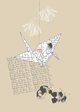 crane origami: Paper crane made from letter page Illustration