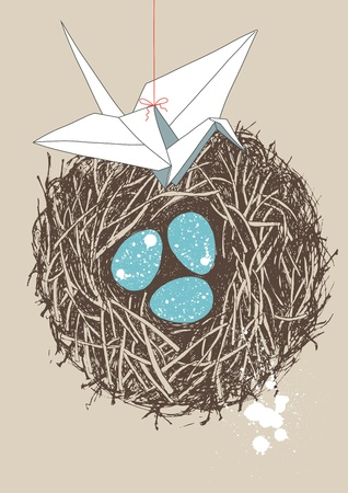 Blue spotted eggs in nest and white paper crane