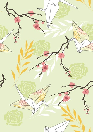 crane origami: Seamless pattern with paper cranes and blossoming branches Illustration