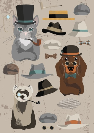 noeud papillon: Les animaux et les vieux chapeaux fixés Illustration
