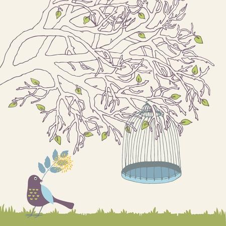 Tree branch and empty bird cage Vector
